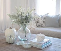 Neutral Fall Decor with white faux pumpkin. - Neutral Fall Decor with white faux pumpkin. Coastal Fall, Coastal Decor, Coastal Entryway, Coastal Bedding, Modern Coastal, Coastal Furniture, Furniture Chairs, Coastal Style, Faux Pumpkins