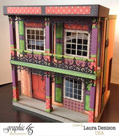 In LOVE with this VooDoo dollhouse from Laura Denison using various Graphic 45 collections! #graphic45 #halloween