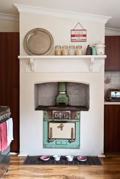 antique duck egg blue Metters stove.