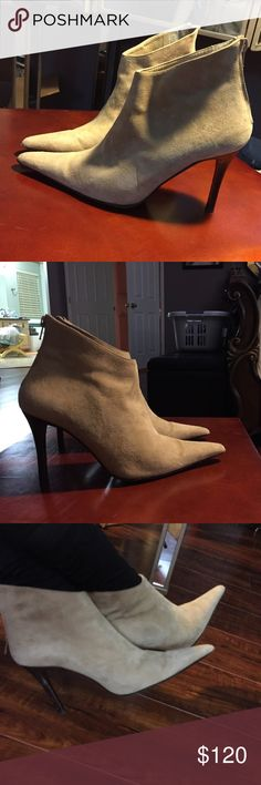 Suede ankle boot Sophisticated and stylish pointy toed ankle boots. These boots are in very good condition. They have been worn only a few times. There is a little bit of wear on the heels, but it is hardly noticeable. These boots are very comfortable and really make any outfit! bergdorf goodman Shoes Ankle Boots & Booties
