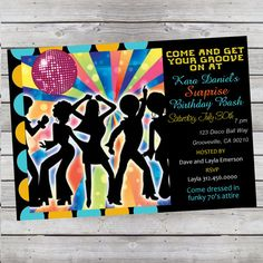 Cool Retro 70's Disco Birthday Invitation by LiveBrightDesigns, $14.99