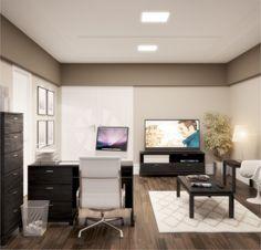Conjunto para escritório / Linha Daisy - Preto/café escovado