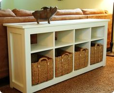 White Storage Sofa Table