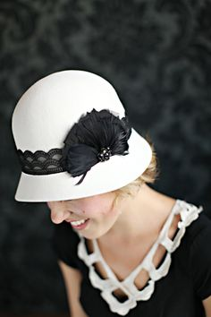 LAST ONE Black and White Womens Cloche Hat by bethanylorelle, $78.00