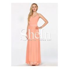 Peach V-neck Spaghetti Straps Backless Maxi Dress (205 MAD) ❤ liked on Polyvore featuring dresses, maxi dress, spaghetti strap dress, white backless dress, backless dress and v neck dress