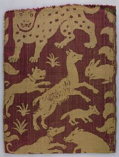 Damask with Leopards and other Animals | Italy | late 15th century | silk | The Hermitage |