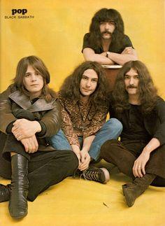 """rockandrollpicsandthings:""""Black Sabbath, poster in swiss magazine POP, Ozzy Osbourne Young, Woodstock, Tony Iommi, Ozzy Osbourne Black Sabbath, Musica Metal, Geezer Butler, James Dio, Afro, Tribute"""