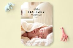 Simple and Elegant Birth Announcements by Leah Shannon at minted.com NTS: sleeping on side on front of card but awake with goofy face on the back.