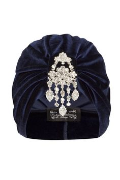 Navy Velvet Turban with Silver Hanging Detail by TheFHBoutique