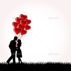 Buy Couple with Balloons by losw on GraphicRiver. Man and Woman with red balloons, illustration Love Cartoon Couple, Cute Love Cartoons, Couple Silhouette, Silhouette Art, Couple Painting, Couple Art, Love Photos, Love Pictures, Valentines Day Drawing