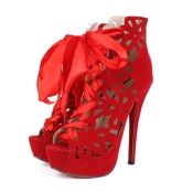 $21.49 Spring Autumn Round Toe Bow Tie Lace Up Hollow-out Design Stiletto High Heels Red Suede Ankle Fashion Boots