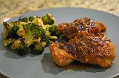 Honey Chili Chicken & Roasted Broccoli with Beer Cheese Sauce from a delicious night at cooking school!! Thanks John :) http://livelaughcook.com/live-laugh-johns-beer-dinner