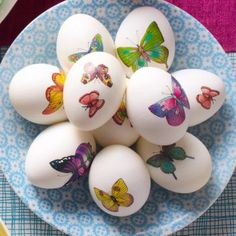 Egg decorating couldn't be easier—just add a temporary tattoo! More ideas for Easter egg decorating: http://www.midwestliving.com/holidays/easter/easy-easter-decorations/?page=14
