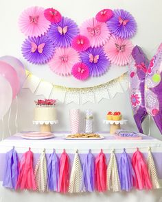 Whimsical butterfly Party theme for Baby Shower or Birthday Design Ideas Of butterfly Birthday Party Decorations Butterfly 1st Birthday, Butterfly Baby Shower, Baby Shower Purple, Baby Girl Shower Themes, Baby Girl Birthday, Pink Birthday, Birthday Parties, Birthday Celebration, Diy Butterfly
