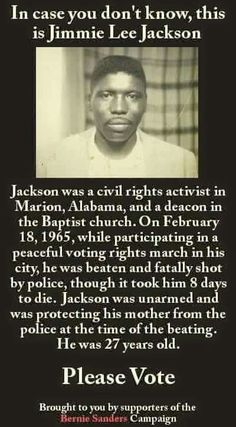 Jimmie Lee Jackson >>> 42 years later, the trooper who shot him was indicted. He pleaded guilty to manslaughter and was sentenced to 6 months in jail. Black History Facts, Black History Month, Jimmie Lee Jackson, Master Of The Universe, Black Pride, My Black Is Beautiful, Before Us, African American History, Black Power