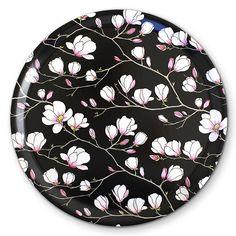 Magnolia Black Round Tray