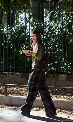 Ursina Gysi, wide-leg plaid trousers, blouse / Garance Doré