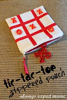 Tic-Tac-Toe pouch...could I make my own with a magnet sheet between the layers, and use magnetic letters so they don't slide around?