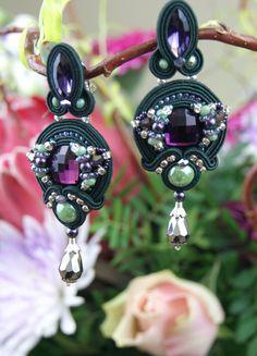 Orecchini a clip / clip orecchio /dark verde viola di BeadsRainbow