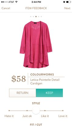 I do have a hot pink cardigan, but if this came in other colors I would definitely be interested!  I like that it's 3/4 sleeve. Perfect for spring!