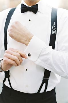 Perfect wedding personalization: Monogrammed suspenders for the groom   @aliciaswedenbrg   Brides.com