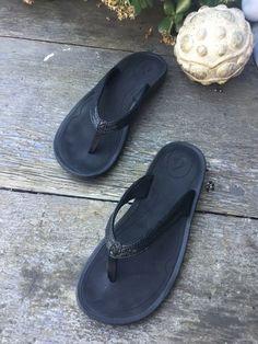 8aef4c39de30 Olukai Kulapakai Sandals Black Women Size 7.5  fashion  clothing  shoes   accessories
