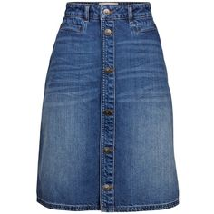 Fat Face Annie Midi Skirt, Denim (1.465 RUB) ❤ liked on Polyvore featuring skirts, calf length skirts, denim midi skirt, knee length skirts, a-line skirt and blue a line skirt