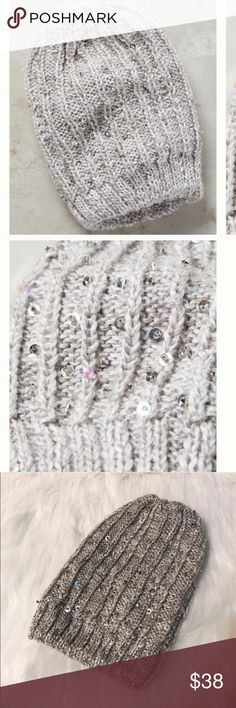 ANTHROPOLOGIE MADISON 88 SEQUINS BEANIE Beautiful and stylish! NWOT! Item came in plastic bag. Color: light gray, with sequins. Very soft, 100% acrylic, No trades, offers welcome. 0172228970 Anthropologie Accessories Hats
