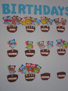 birthday calendar in the classroom Birthday Calendar Classroom, Birthday Bulletin Boards, Owl Theme Classroom, Classroom Crafts, Preschool Crafts, Crafts For Kids, Birthday Display, Birthday Wall, Birthday Board