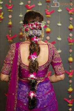 Inspiring Indian Wedding Hairstyles for Long Hair You Must Try Before Walking Own Towards the Aisle Wedding Saree Blouse Designs, Half Saree Designs, Pattu Saree Blouse Designs, Fancy Blouse Designs, Saree Wedding, Lehenga Blouse, Bridal Lehenga, Bridal Hairstyle Indian Wedding, Bridal Hairdo