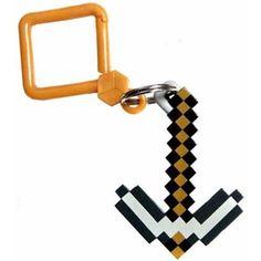NEW Minecraft 3D Plastic Figure Hanger Keychain Keyring Bag Clip PICK AXE 3
