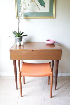 Mid Century Danish Modern Vanity Table - Vintage Walnut Vanity Desk - 1960s Retro Eames Era Tapered Leg Vanity Desk
