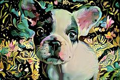 French Bulldog Puppy Abstract Art - Fine Art Prints and Home Decor for sale. A cute Frenchie on an abstract flower background. Click on the link or the image to buy a poster, framed fine art print, wrapped canvas, metal or acrylic print. 30 day money back guarantee on every purchase. (c) Peggy Collins peggycollinsgallery.com - Art for your Home Decor and Interior Design needs.