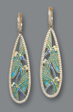 A pair of diamond and plique-à-jour enamel pendant earrings. | © Bonhams 2001-2014