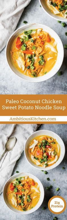 Coconut Chicken Sweet Potato Noodle Soup with creamy coconut flavor and fun spiralized sweet potato noodles! A delicious, global twist on your favorite chicken noodle soup made into a healthy paleo version.