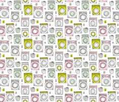 Laundromat vintage pattern fabric by littlesmilemakers on Spoonflower - custom fabric