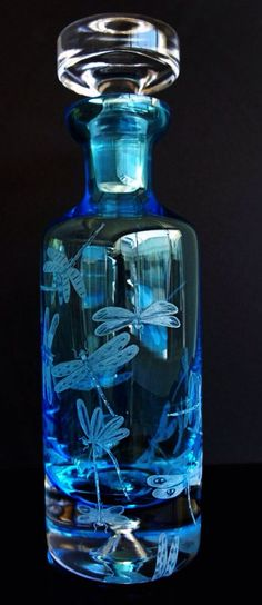 Decanter blue glass Crystal etched handengraved wine by AkokoArt