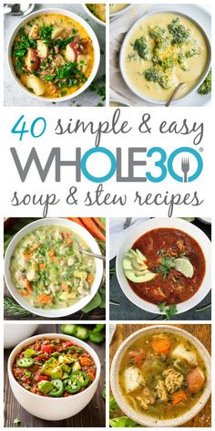 These 40 soup, stew and chili recipes are hearty, delicious and perfect . - These 40 soup, stew and chili recipes are hearty, delicious and perfect for a weeknight meal - Recetas Whole30, Whole30 Soup Recipes, Paleo Soup, Chili Recipes, Vegetarian Soups, Healthy Recipes, Paleo Meals, Whole 30 Vegetarian, Seafood Soup Recipes