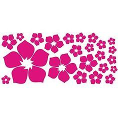 ufengke® 23-Pezzi Piccoli Fiori Adesivi Murali, Camera da Letto Soggiorno Adesivi da Parete Removibili/Stickers Murali/Decorazione Murale, Rosa Rossa