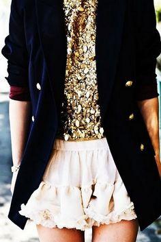 gold + velvet jacket combo