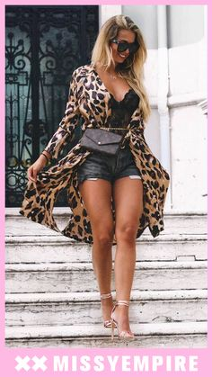 Shop the latest Leopard print Trend. is stepping into the weekend ⭐️ Wearing the Gabby Leopard Print Satin Longline Kimono Leopard Print Dress Outfit, Leopard Outfits, Kimono Outfit, Leopard Fashion, Sexy Outfits, Casual Outfits, Beige, Looks Style, Fashion Looks