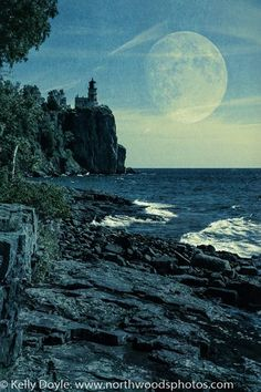 Split Rock Lighthouse and Moon double exposure. North Shore of Lake Superior near Two Harbors, MN. Split Rock Lighthouse, Two Harbors, Abstract Nature, Lake Superior, North Shore, Double Exposure, Lighthouses, Minnesota, Nature Photography