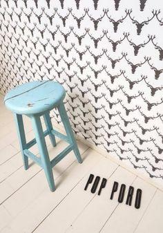 "Love this too! Finnish Design House Oy Hellapuu wallpaper ""Pop Poro"" :) Pop, Stool, House Design, Wallpapers, Inspiration, Furniture, Home Decor, Biblical Inspiration, Popular"