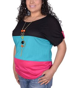 Look what I found on #zulily! Black & Pink Color Block Top - Plus by Fiory Naz #zulilyfinds