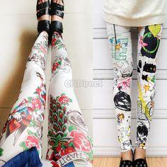 Fashion Women Skinny Tight Leggings Stretch Slim Cartoon Print Leggings