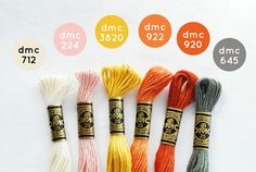 DMC colors to match Moda's Twenty Three fabric line Dmc Embroidery Floss, Cross Stitch Embroidery, Embroidery Patterns, Hand Embroidery, Cross Stitch Floss, Cross Stitch Patterns, Color Combos, Color Schemes, Thread Bracelets