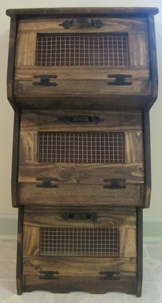 rustic shelves kitchen | Rustic Vegetable Bin Storage Cupboard Primitive Shelf Onion Potatoes ...