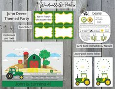 John Deere themed tractor birthday party for toddlers. Inspiration for decorations, cake, healthy food and innovative party packs & free printables. Tractor Birthday, Boy Birthday, John Deere Party, Kids Party Themes, Party Ideas, Party Centerpieces, Party Printables, Free Printables, Party Packs