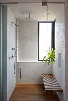 Perfect bathroom with a bench