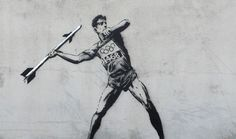 Banksy is back with two new pieces of street art ahead of this year's London 2012 Olympic Games. The new graffiti works see a javelin thrower with a missile and a pole vaulter hurdling barbed wire. Banksy Graffiti, Street Art Banksy, Graffiti Games, Banksy Work, Graffiti Artwork, Bansky, Graffiti Artists, Banksy Paintings, Banksy Canvas Prints